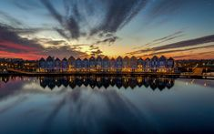 Download wallpapers Hauten, quay, city lights, colorful houses, evening, Holland, Netherlands