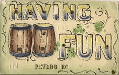 HAVING BARRELS OF FUN IN PETERBORO Ontario Canada.  Postmarked 1914.   SOLD.