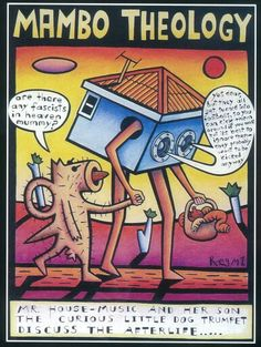 Mambo Theology (artist: Reg Mombassa) on my husbands t. Australian Painting, Owl City, Ex Machina, Afraid Of The Dark, A Day To Remember, My Favorite Image, House Music, Little Dogs, Travel Quotes