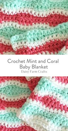 Free Pattern - Crochet Mint and Coral Baby Blanket