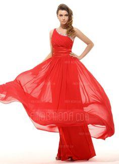 A-Linie/Princess-Linie One-Shoulder-Träger Bodenlang Chiffon Charmeuse Festliche Kleid mit Rüschen (020016063)