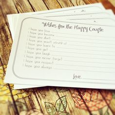 Wishes for the Happy Couple Cards - Unique Bridal Shower Activity Game or Wedding Guest Book Alternative - Set of 100. $25.99, via Etsy.