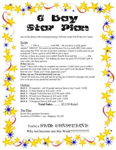 6 day star plan-Anne Hanson Mary Kay Sales Diretor-United States Selling