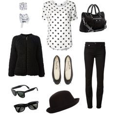 Polka dots do cold! Plus trilby, chunky cardigan and wayfarers
