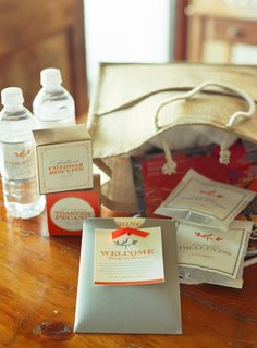 welcome bags were filled with a visitors' guide, a current issue of a local magazine, homemade rosemary-roasted cashews, cheddar-pecan biscuits in custom glassine pouches, and a booklet that detailed the events of the weekend Wedding Welcome Bags, Wedding Favors, Wedding Gifts, Wedding Stuff, Wedding Invitations, Invitations Online, Wedding Bells, Party Favors, Wedding Decorations