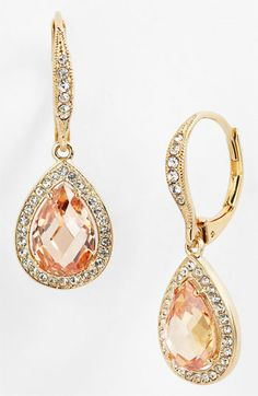 """So pretty. i can imagine the emerald with a satin white sheath dress, a lá """"atonement""""! Nadri Pear Drop Earrings (Nordstrom Exclusive) available at #Nordstrom #nordstromweddings"""