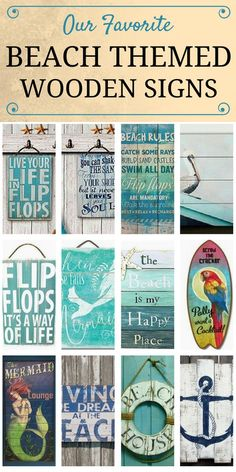 Check out our favorite beach themed wooden signs at Beachfront Décor! These beach, tropical, nautical, and coastal themed wooden plaques make great wall décor for your beach or lake home. Get shabby chic pallet art in a variety of themes like flip flops, Beach Cottage Style, Beach House Decor, Diy Home Decor, Beach House Signs, Beach Theme Wall Decor, Nautical Wall Decor, Beach Themed Crafts, Beach Theme Bathroom, Beach Home Decorating