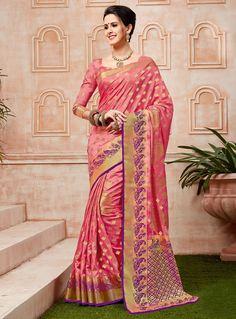 Pink Banarasi Silk Festival Wear Saree