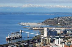 Grain terminal, Smith Cove Marina, and Olympic Mountains from Space Needle