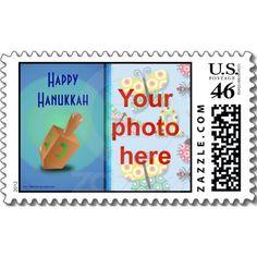 Hanukkah photo postage stamp Dreidel
