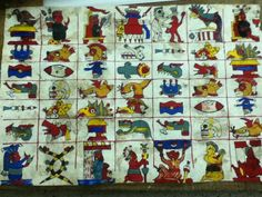Un tonalamatl actual; los primeros siete días de las cinco trecenas del Oriente con sus símbolos manticos.