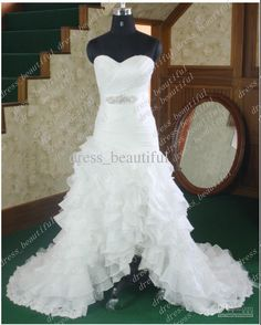 Wholesale Actual Images NEW Hi-lo Sleeveless Sweetheart Organza Beads multilayer Wedding Dresses Wedding Dress, Free shipping, $99.79-145.6/Piece | DHgate