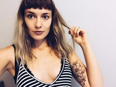 Arm tattoo blonde micro bang hair inspiration @staciecarrphoto