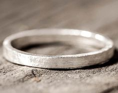 The Skinny - Pure Silver Distressed Ring, Simple Plain Band, Flat, Thin, Fine Silver, Small, Square, Rustic, Athletic, Sporty, Size 5.5, 6.5