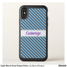Light Blue & Gray Stripes Pattern + Custom Name Cool Phone Cases, Iphone Case Covers, Gray Stripes, Text Color, Blue Grey, Light Blue, Cool Stuff, Purple, Pattern