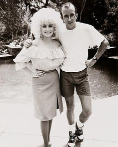 // Dolly Parton & Keith Haring, 1985.    Photo by Andy Warhol