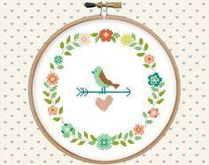 Wreath flowers floral bird heart cross stitch por GentleFeather