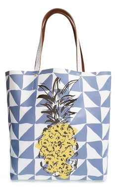 Finding a geometric pattern with a Tropical Fruit on a Tote bag is modern and fun. This can also be a DIY project.