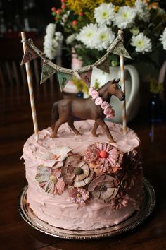 2 Layer Cake, 2nd Birthday, horse themed cake