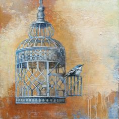 Vintage bird cages interest me along with the theme of freedom. Birds are symbolic for that as well and I paint them repeatedly. Texture is prevelant in this painting as I wanted to immulate an old Italian wall.