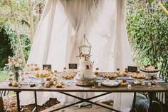 dessert table - photo by Yes Dear Studio http://ruffledblog.com/romantic-garden-wedding-with-vintage-details