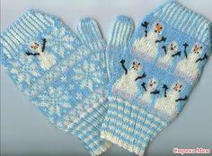 """* Жаккардовые рукавички """"Семейка снеговиков"""" by Kathleen Taylor (Южная Дакота…"""