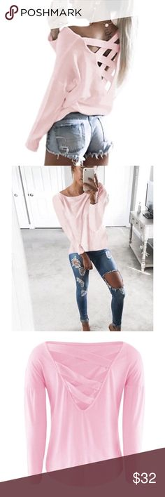 ✨🆕✨ Long Sleeve Shirt with Criss Cross Back 🎀 Brand new long sleeve loose top with criss cross detailing in the back. A must have for your wardrobe! I didn't wear because it was a tad big on me. Fits more relaxed. Color: Baby Pink 🎀 Size: Medium. Boutique brand. BUNDLE TO SAVE 💰‼️ Tags for exposure: h&m | forever 21 | charlotte russe | asos | boo hoo | missguided Missguided Tops Tees - Long Sleeve