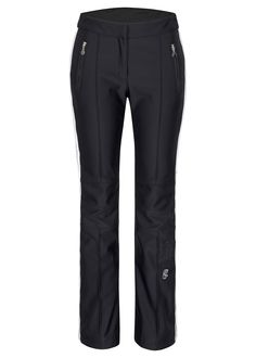 Women's #stretch #ski #pant with a contrast #colored #stripe on each side. The inside gaitor protects from snow. The fit is snug but functional.