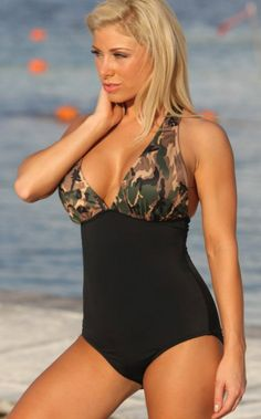 We'll be at the beach from dusk to dawn. This swimsuit features camo print, cut-out front, one piece. More surprise at Swimhoney.com!