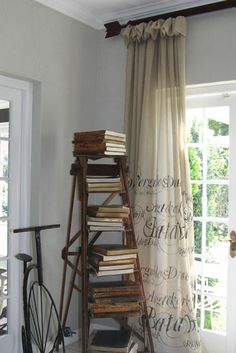 painted script on curtains.