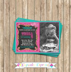 PIN it to WIN it! Cowgirl birthday party Printable Birthday Party Photo invitation by CupcakeExpress on Etsy pink teal Horse Party, Cowgirl Party, Spa Birthday Parties, 2nd Birthday, Birthday Ideas, Cowgirl Decorations, Cowgirl Birthday Invitations, Chalkboard Invitation, Photo Invitations