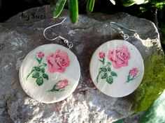 earrings from modelling clay + decoupage Modelling Clay, Handmade Jewellery, Clay Jewelry, Decoupage, Decorative Plates, Earrings, Diy, Design, Home Decor