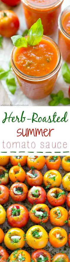 Slow-roasted for hours in plenty of herbs and garlic, this tomato sauce packs in the absolute BEST flavors of summer! --- It's awesome on top of pasta and freezes wonderfully. @WholeHeavenly