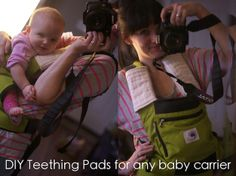 DIY organic teething pads for Ergo Carrier (can be made to fit any baby carrier).  Cost less than 5 dollars!
