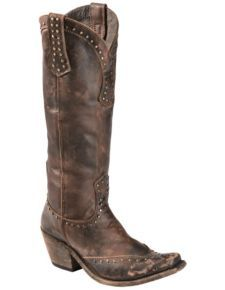 Liberty Black Toscano Studded Cowgirl Boots - Square Toe