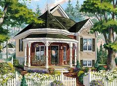 <!-- Generated by XStandard version 2.0.0.0 on 2013-06-25T11:58:01 --><ul><li>This petite Victorian Cottage home plan would make a great guest cottage or in-law suite to a main house.</li><li>The covered front porch wraps around the bay of the entry foyer.</li><li>Climb four steps up to the main living area with a full-sized kitchen at the rear.</li><li>The bathroom is spacious with a big soaking tub and separate shower.</li><li>The roof pitch is 12:12.</li></ul>
