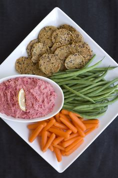 Pretty in Pink Beet Hummus - inspiredrd.com #glutenfree