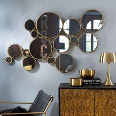 Gold Metal Mirror 141 x 83 cm | Maisons du Monde US Art Deco Spiegel, Spiegel Design, Art Deco Mirror, Metal Mirror, Salon Art Deco, Interiores Art Deco, Large Round Mirror, Round Mirrors, Bedroom Decor