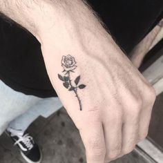Looking for the best hand tattoos? Hand tattoos for men are bold and rebellious. Because hand tattoos are very visible and painful to get, think twice if you plan on…View Rose Tattoos For Men, Hand Tattoos For Guys, Small Tattoos For Guys, Cool Small Tattoos, Trendy Tattoos, Simple Mens Tattoos, Simple Rose Tattoo, Rose Tattoo For Guys, Music Tattoos Men