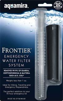 Aquamira Frontier Emergency Water Filter System is a great minimalist water filter to keep in your survival gear