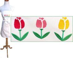 "Tulips Apron 30"" Long White Adjustable Tulip Flower Garden Monogram Floral NWT #Unbranded"