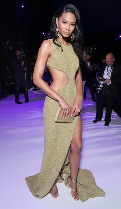 All the Glamour, Glitz and Gowns from the Cannes 2016 Red Carpet | People - Chanel Iman in a cutout August Getty Couture dress