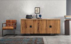 A rustic modern oak sideboard designed by Italian designer Devina Nais. Solid Oak Sideboard, Rustic Sideboard, Simple Furniture, Dining Furniture, Modern Rustic, Rustic Chic, Country Chic, Shabby Chic, Contemporary Interior Design