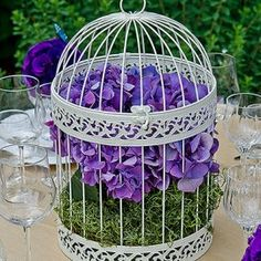 This Round Decorative Bird Cage is painted in an elegant matte finish which gives it a timeless feel. Easily incorporate it into your wedding party reception decor or use it as a unique wishing well. Wedding Reception Tables, Wedding Table Decorations, Wedding Centerpieces, Wedding Favors, Spring Decorations, Decor Wedding, Reception Ideas, Wedding Ceremony, Bird Cage Centerpiece