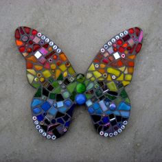 MADE TO ORDER can be personalised with names as per main picture. Mosaic Rainbow Design Butterfly for Indoors or Out. Ready to hang; two keyhole hangers are provided on reverse, to hang at an angle; or prop on a shelf or mantle. Mosaic Crafts, Mosaic Projects, Mosaic Art, Mosaic Glass, Mosaic Tiles, Glass Art, Stained Glass, Mosaic Rocks, Mosaic Mirrors