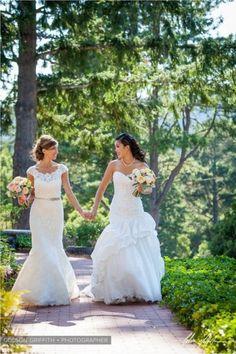 Same sex wedding dress ideas.  #spring #wedding #samesexmarriage | Invitations by Ajalon | Here Come the Brides – Same-Sex Style