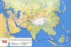 The Silk and Spices Routes. Besides silk, paper and other goods, the Silk Road carried another commodity which was equally significant in world history. Along with trade and migration, the world's oldest international highway was the vehicle which spread Buddhism through Central Asia.