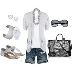 I like these denim shorts and the mix of gray and silver.