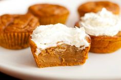 Impossible Pumpkin Pie Cupcakes   1 15 oz can pumpkin puree  1/2 cup sugar  1/4 cup brown sugar  2 large eggs  1 teaspoon vanilla extract  3/4 cup evaporated milk  2/3 cup all purpose flour  2 teaspoons pumpkin pie spice  1/4 teaspoon salt  1/4 teaspoon baking powder  1/4 teaspoon baking soda  Preheat oven to 350 for 20 min.