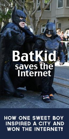 """Thanks, Batkid. In fact, thank you Miles. Thank you for for reminding us about our common humanity, that people really do care about each other, and showing us that sometimes the wish of a strong little boy can make the world smile together.""  The Happiest Story of the Year. Batkid Saves the Internet."